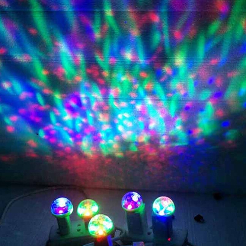 Mini USB Colorful Stage LED Disco Light Led Party Lights Portable Crystal Magic Ball Home Party Karaoke Decorations 4W