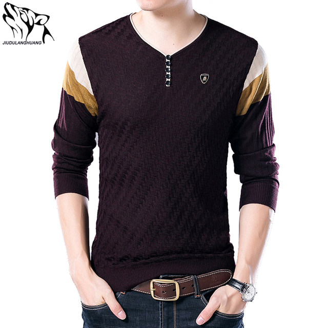 Men s Pullover Sweaters Autumn Korean Men s V-neck Long-sleeved Stitching  Thin Knit Sueter f6022cc435