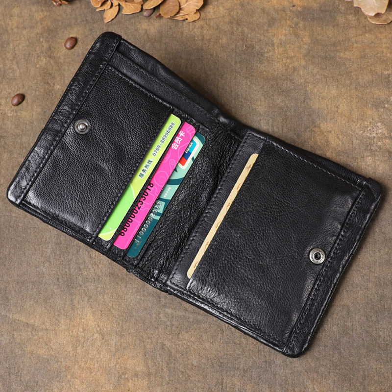 AETOO Original retro leather short wallet First layer sheepskin multi function stitching vertical wallet Youth coin holder-in Wallets from Luggage & Bags    3