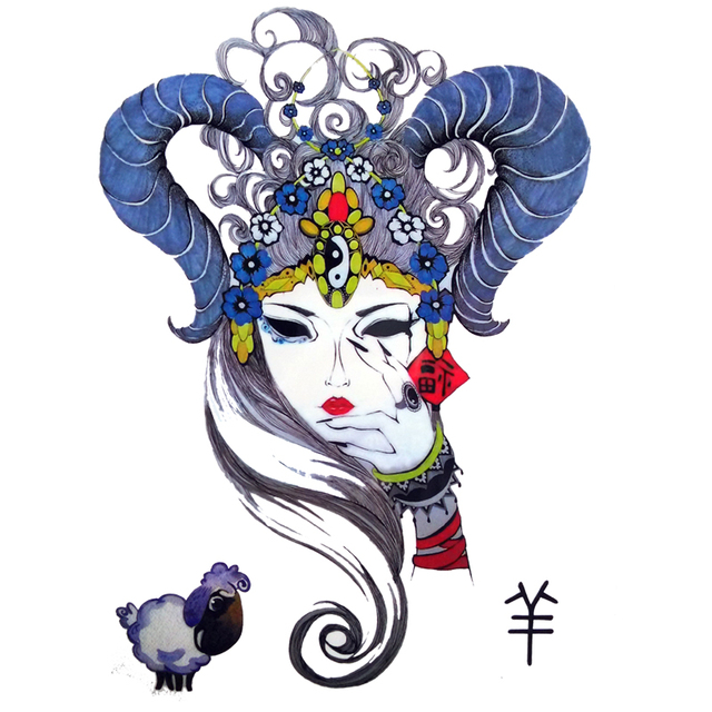 Sheep Dressed Beauty Girls Tattoo Designs Chinese Zodiac Mascot Goat ...