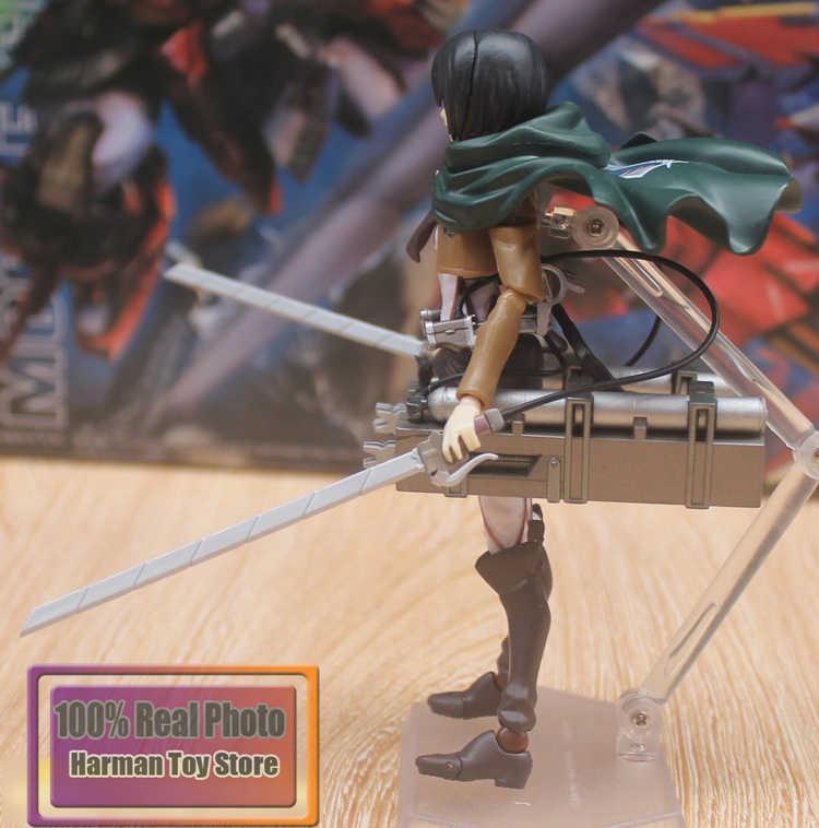 "6 ""Anime Ataque Japonês a titan Figma 203 Mikasa Ackerman PVC Action Figure Collectible Modelo Toy"