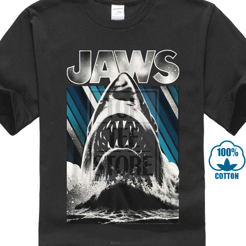 Jaws Licensed Shirt T Sm Shark Movie Adult Mens New Sizes 2Xl Cotton Officially image