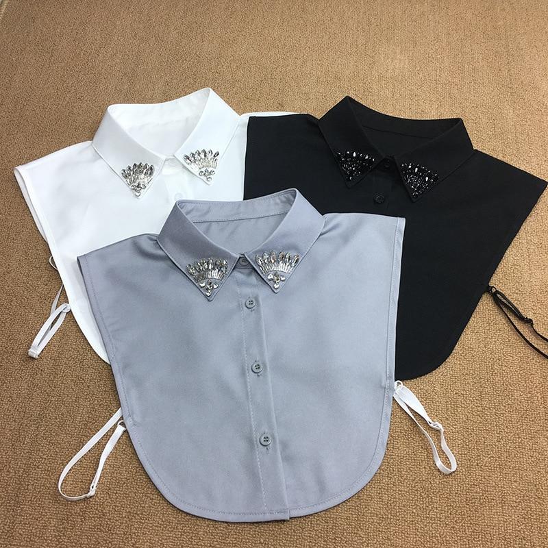 Decorative Spot Plaid Pure Color Women Necktie Gravatas Beige Color Shirt Black White Dot Fake New False Ladies Fake Collar