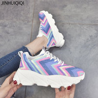 Women Shoes 2019 New Chunky Sneakers For Women Vulcanize Shoes Casual Fashion Dad Shoes Platform Sneakers Basket Femme Rainbow