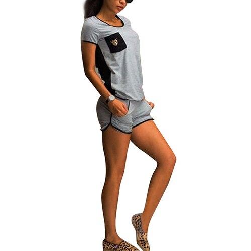 Women Summer Sexy Cut Back Design Casual Top O Neck T Shirt Short Pants Suit