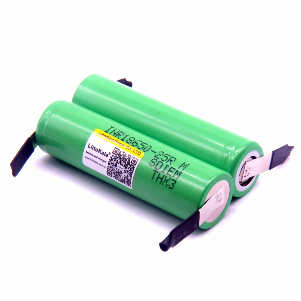 100 pieces Liitokala brand new 18650 2500mAh rechargeable battery 3.6V INR18650 25R M 20A discharge + DIY nickel