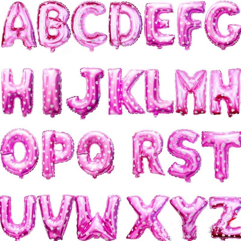 XXPWJ Free shipping Pink 16 inch letter aluminum balloons birthday holiday weddi
