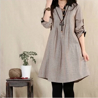 2016 New Spring Cotton Linen Vintage Dress Loose Clothes for Pregnant Women Plus Size XXL Clothing For Pregnancy Wear AE541