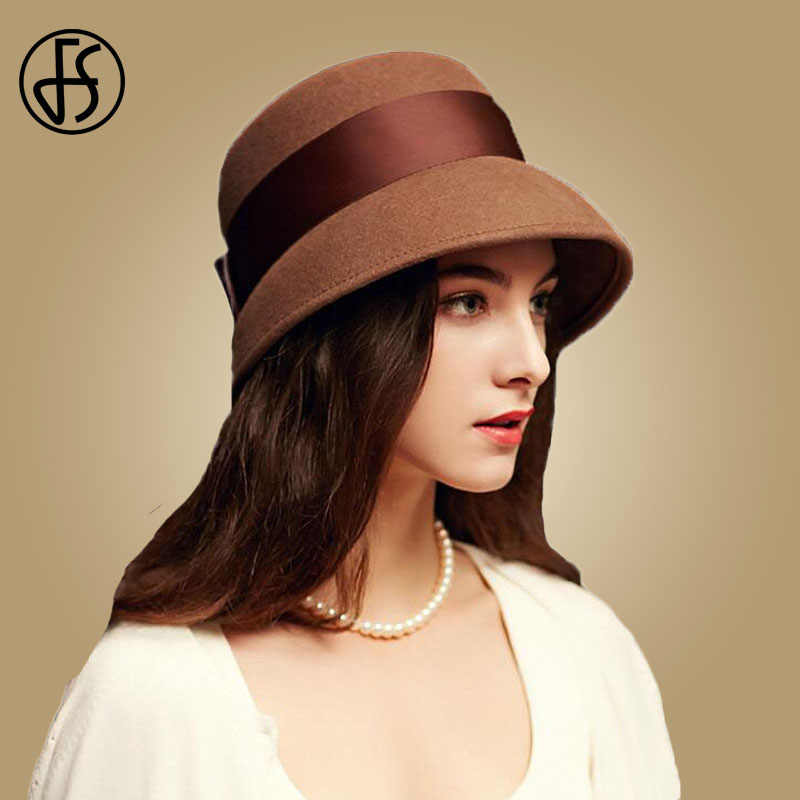 bea7452d3ac FS 2018 Autumn Winter 100% Wool Cloche Hats Women Wide Brim Vintage Brown  Fedora Hats