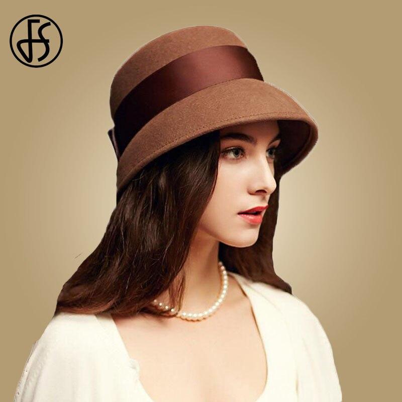 FS 2018 Autumn Winter 100% Wool Cloche Hats Women Wide Brim Vintage Brown Fedora  Hats Black Elegant Bowknot Felt Sombreros Mujer c23c02f51805