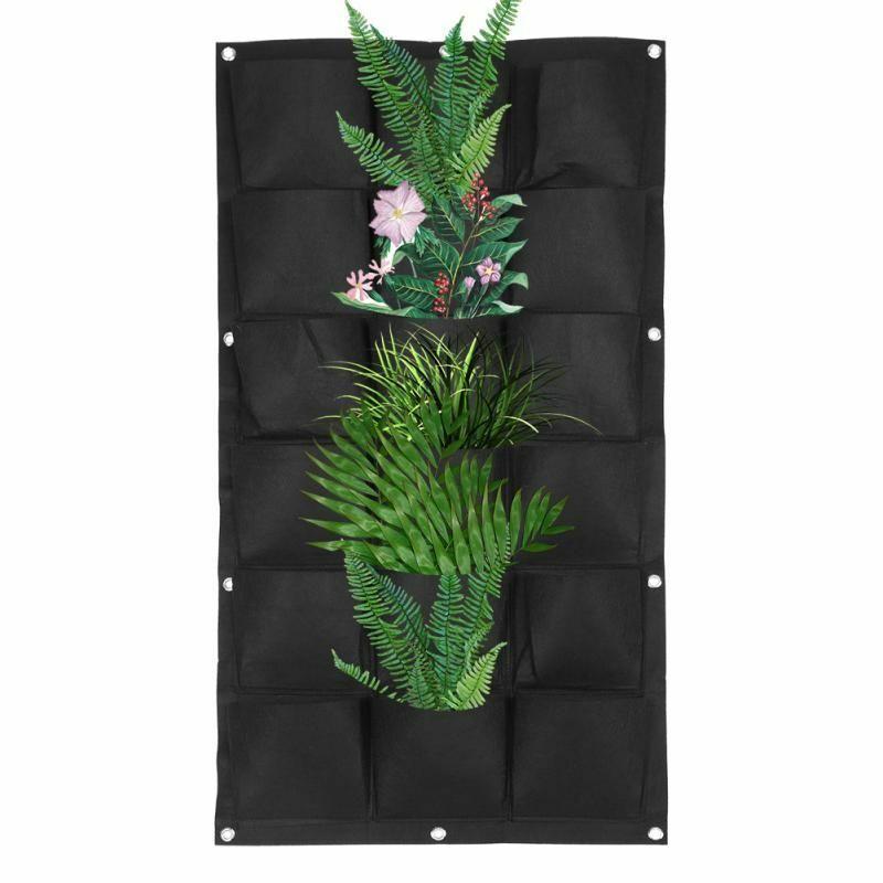 Image 3 - Vegetable Plant Wall Hanging Garden Vertical Gardening 4/7/12/15/18 Pockets Black Felt Fabric Grow Bag Pots Garden Supplies-in Grow Bags from Home & Garden