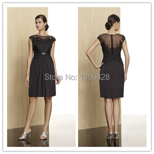 Simple Elegant Knee Length O Neck Illusion Back Sash Short Sleeves