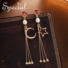 Special moonshine tassel S925 silver pin asymmetrical ear female face slimming without piercings S1857E