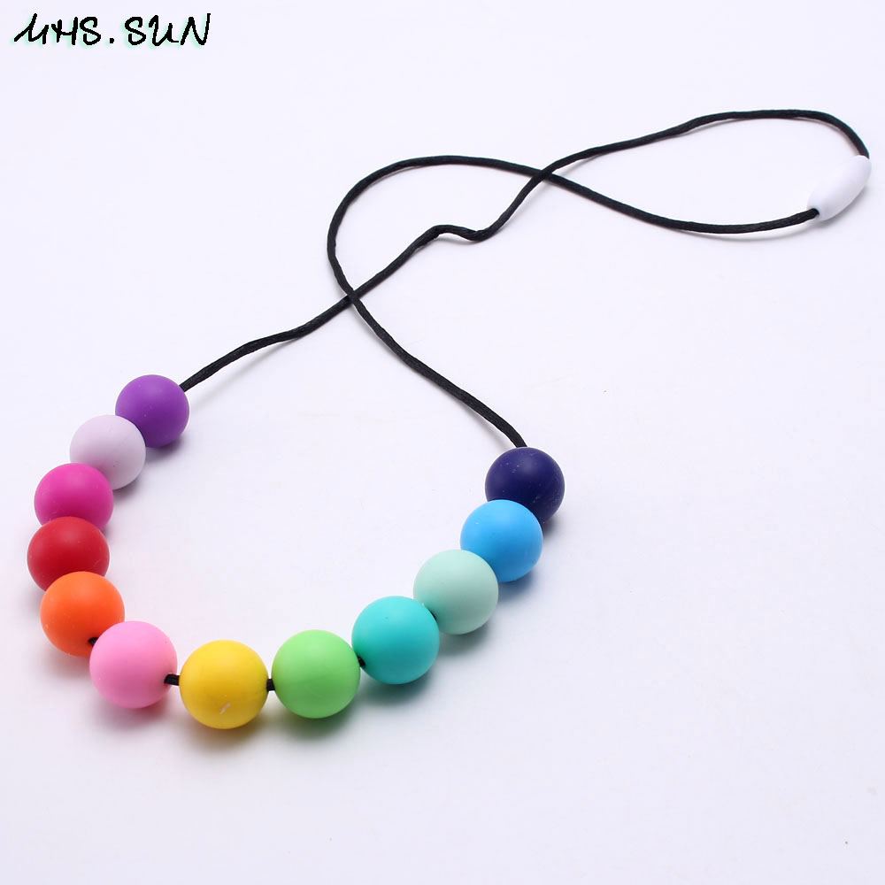 MHS.SUN Rainbow color silicone beads teething necklace food grade silicone teether chewable nursing necklace for baby mommy