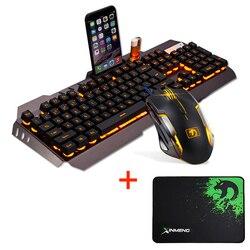 Przewodowy LED podświetlany ergonomiczna Multimedia Usb zestaw klawiatury i myszy dla graczy podświetlany 2000 DPI optyczna mysz zestawy + podkładka pod mysz podkładka pod mysz