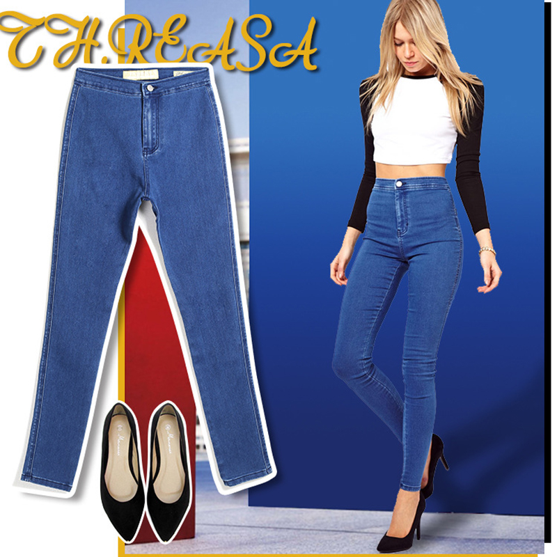 2016 New Jeans Woman High Waist Jean Pants Woman Sexy Ripped Jeans for Women American Apparel Jeans Femme Trend Slim Fit Pant flower print jeans woman high waist jean