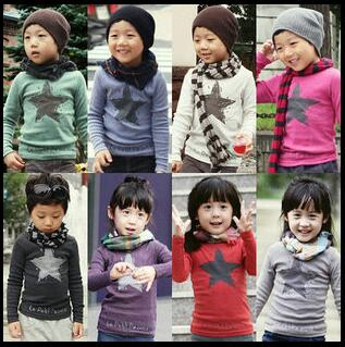 Sweatshirts Long-Sleeves Clothing Girl Autumn Children O-Neck Spring Star Tees MERI AMMI