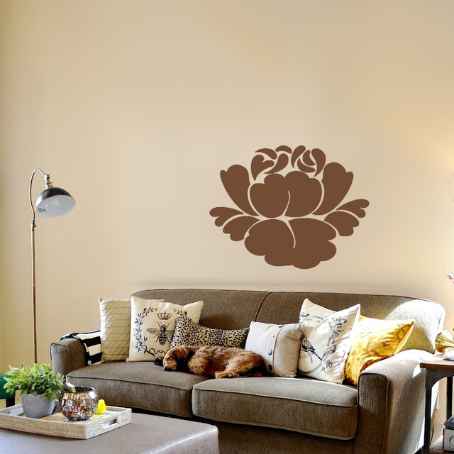 Lotus flower wall decals buddhism vinyl wall decals stencil mural girl room decor bedroom stickers graphics