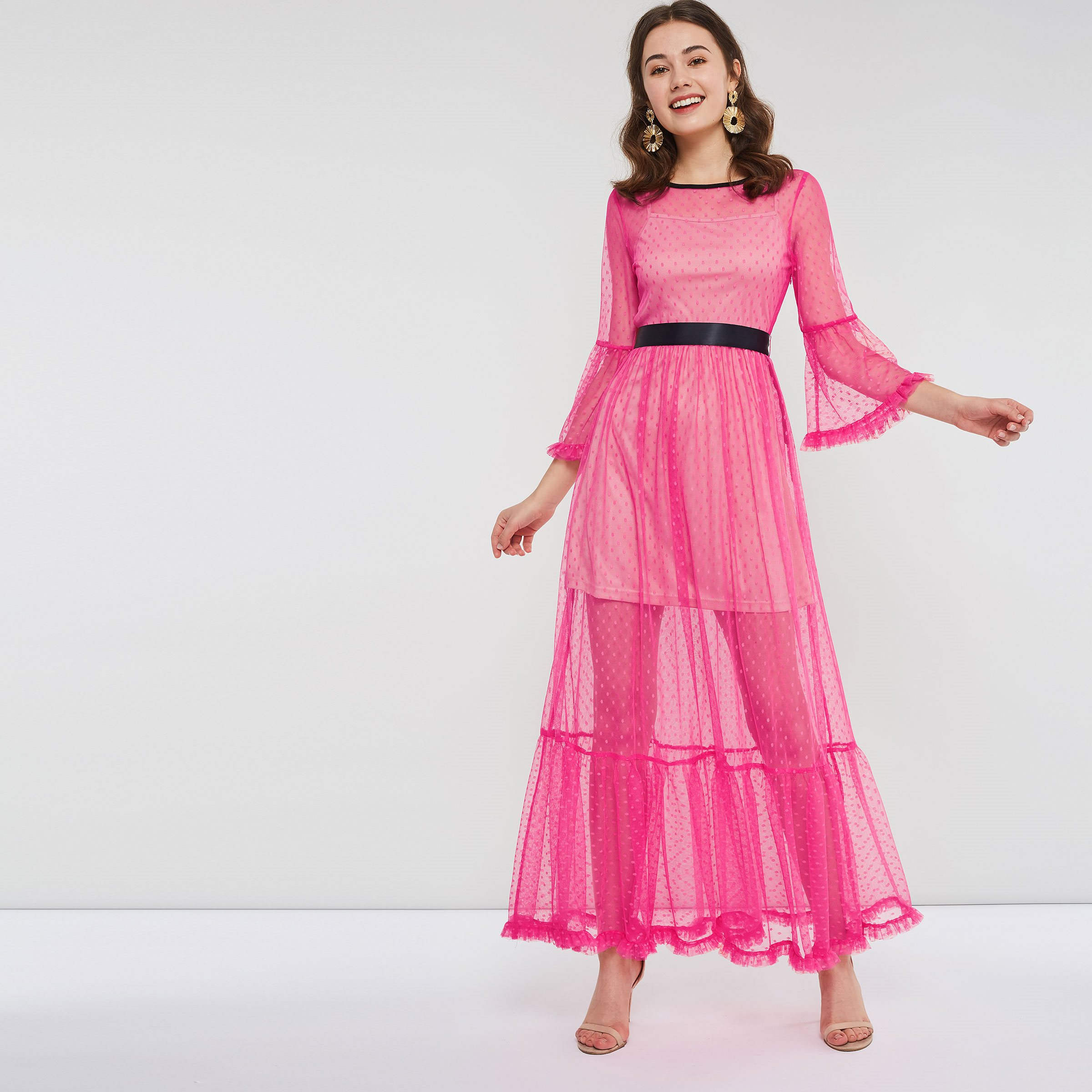 Evening Party Women Two Piece Extra Long Fuchsia Dress Spring Summer Polka  Dot Ribbon Belt Ruffle b72eea90f9f8