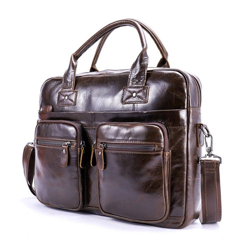 Marque hommes mallette en cuir véritable sacs à bandoulière pochette d'ordinateur en cuir sacs à main rétro Zipper sac pour hommes d'affaires ordinateur sac à main
