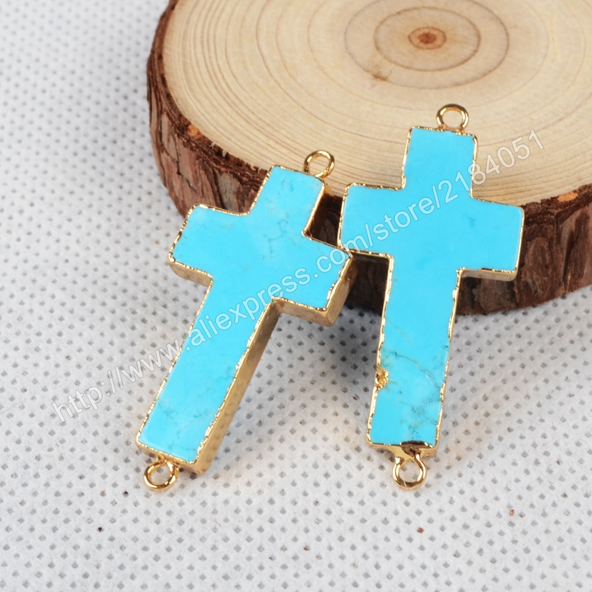 Cross Blue Howlite Turquoise Gold Plated Necklace Connector Beads Double Bails Making Jewelry G0872