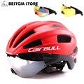 3 линзы Aero ультра-светильник велосипедный шлем Велоспорт велосипед Спорт Безопасность гоночный шлем с очками в форме TT дорожный велосипед м...