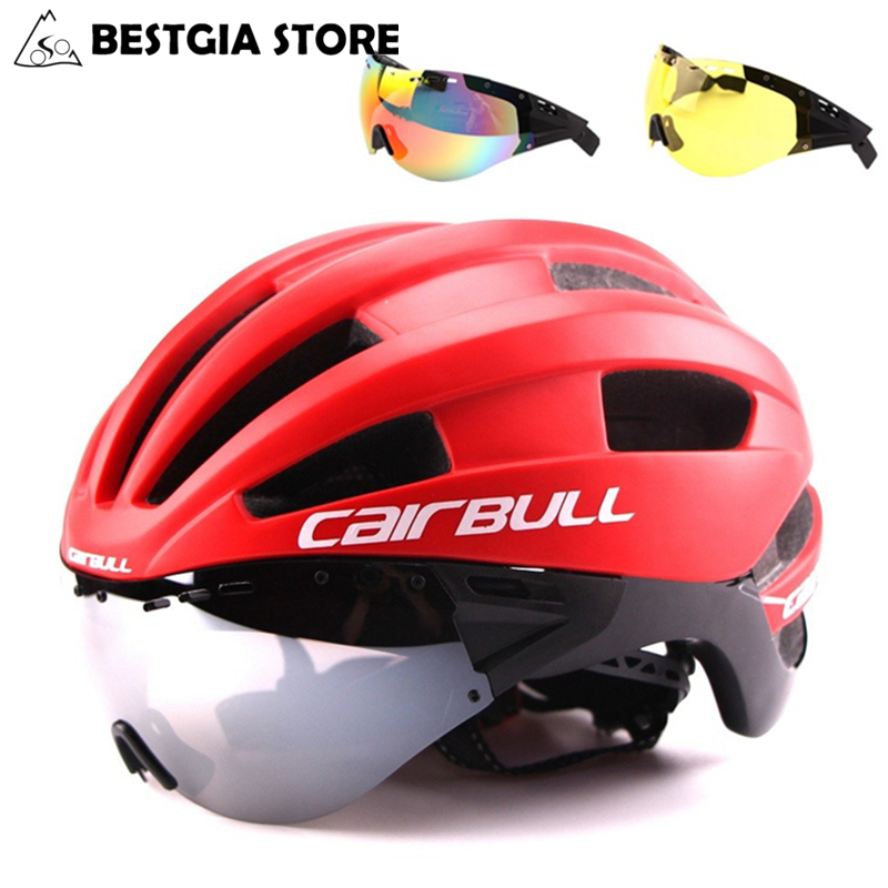 3 Lens Aero Ultra light Bicycle Helmet Cycling Bike Sports Safety Racing Helmet With Goggles In mold TT Road Bike Matte Helmets