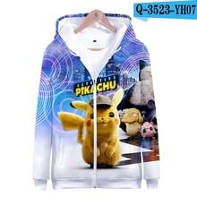 NEW Anime Movie Pokemon Detective Pikachu lovely 3D print Zipper hooded sweatshirt Men/Women Hip hop Casual clothes