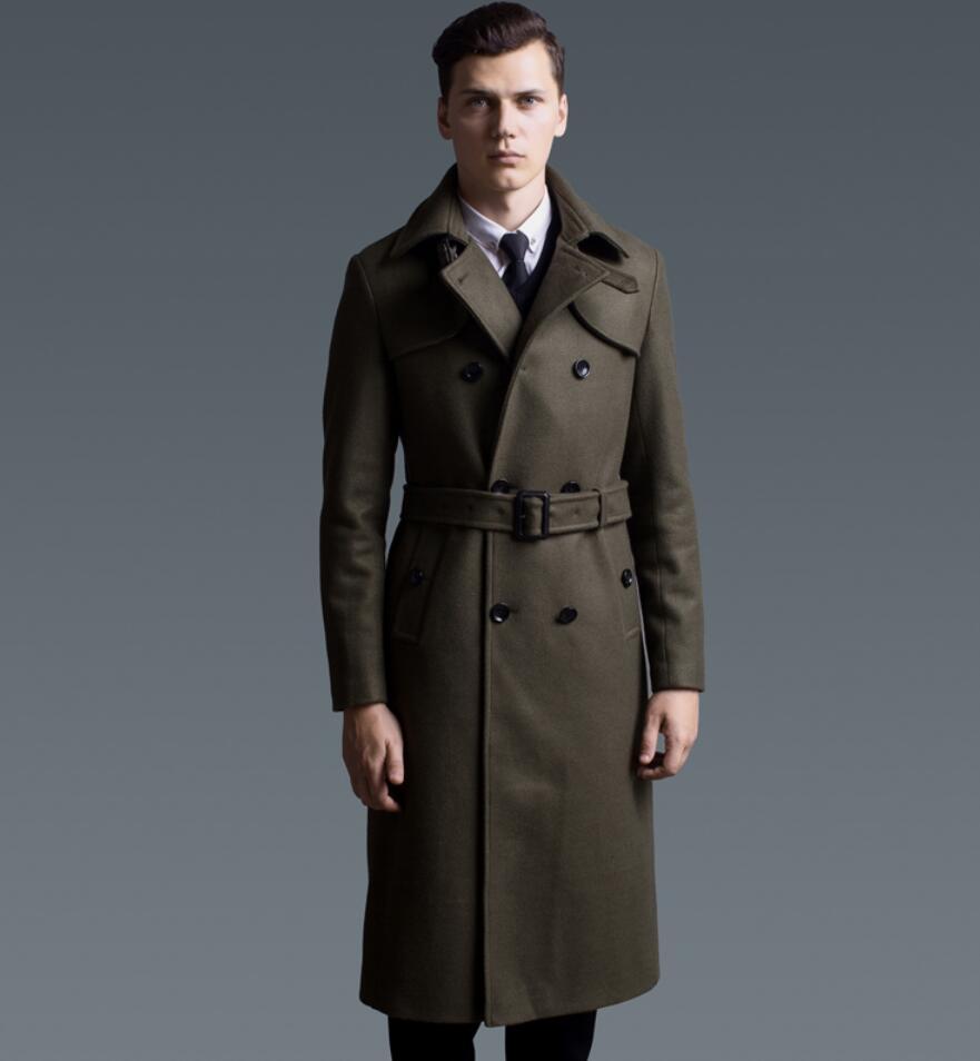 New fashion long coat men slim woolen X long trench coat classical british style overcoat winter clothing men 6XL free shipping