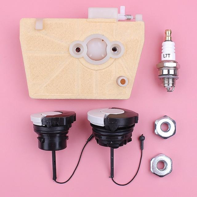 Filtro de ar Óleo Combustível Cap Porca Bar Spark Plug Kit Para Stihl 038 MS380 MS381 380 MS 381 Motosserra peças de Reposição peça de Reposição