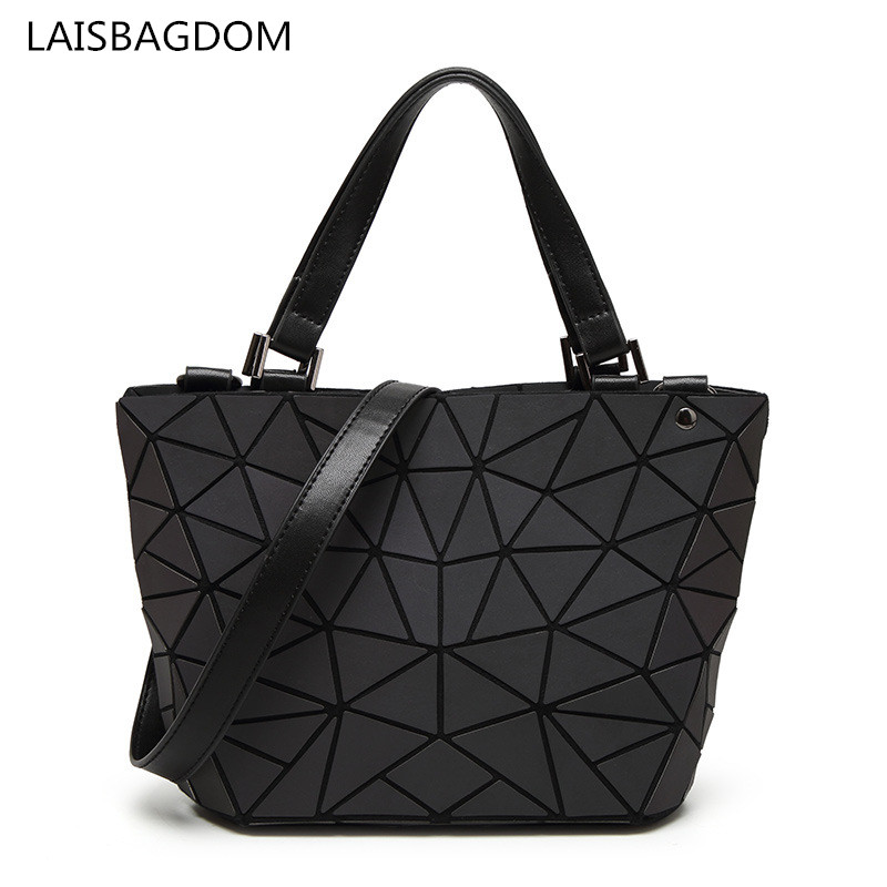 2018 New Arrival Laser Women Bags Folding Geometric Handbag Casual Tote Quilted Fold Luminous Bag Shoulder Bags Bao Bao