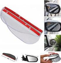 2 Pcs Transparent Universal Car Flexible Plastic Rear Mirror Rain Board Eyebrow Black