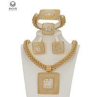Fashion African Jewelry Sets Big Choker Necklace Earrings Sets For Women Square Hollow Out gold Color Ring Bracelet Anniversary
