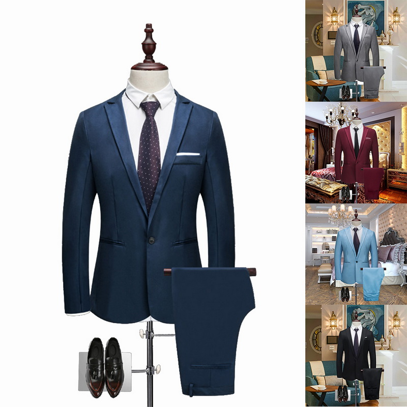 Heflashor Luxury Men Wedding Suit Formal Male Blazers Slim Fit Suits Costume Business Party Smart Suits Brand (jacket+pants) #1