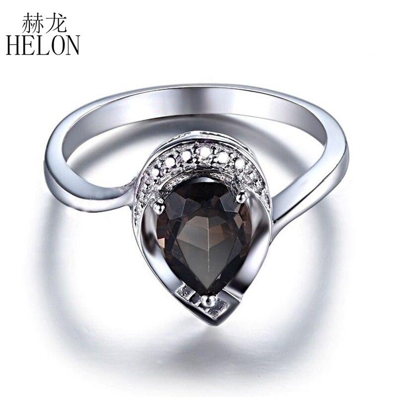HELON Solid 14K White Gold Flawless 8x6mm Pear Cut 1.12CT Smokey Quartz Real Diamonds Engagement Ring Fine Jewelry Gemstone Ring цена