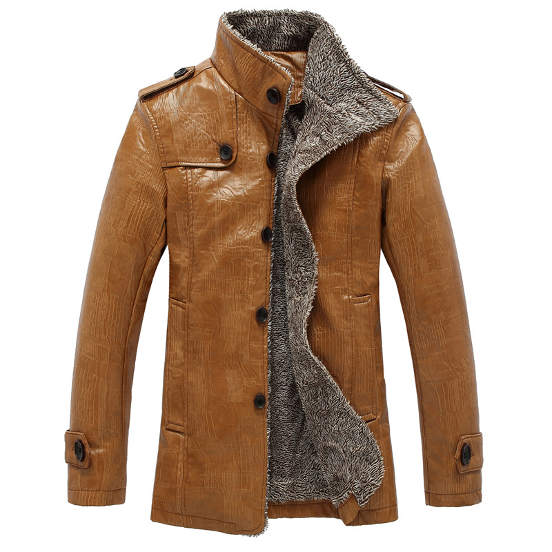 Brand New Men Winter Jacket Fashion Fleece Lined Thick Warm PU Leather Suede Motorcycle Bomber Casual Faux Leather Coats L-5XL