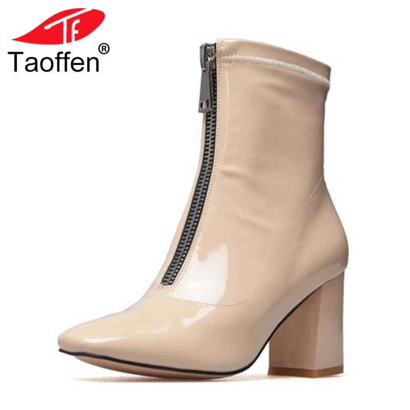 TAOFFEN Woman Short Boots Winter Genuine Leather Shoes Woman Zipper Metal High Heel Boots Women Square Toe Shoes Size 33-41 brand new woman real genuine leather square heel half short boots women retro square toe heeled shoes footwear size 34 39
