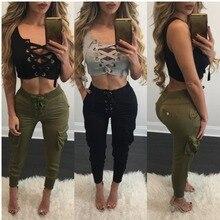 Adogirl 2017 Summer Women Cotton Crop Tops Sexy Deep V Neck Cross Womens T Shirt Sleeveless Top Lace Up Hollow Out Cropped Top