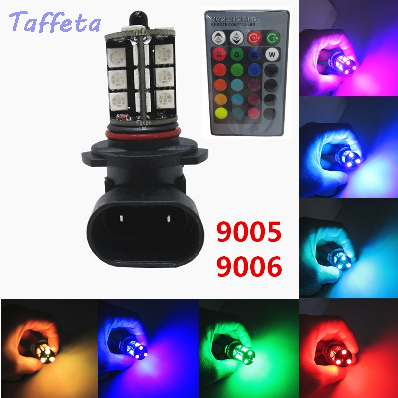 2 шт 12V HB3 9005 HB4 9006 светодиодный с несколькими цветами RGB Цвет 5050 27SMD автомобиля Автомобильная Противо-Туманная светильник лампа с дистанционн...