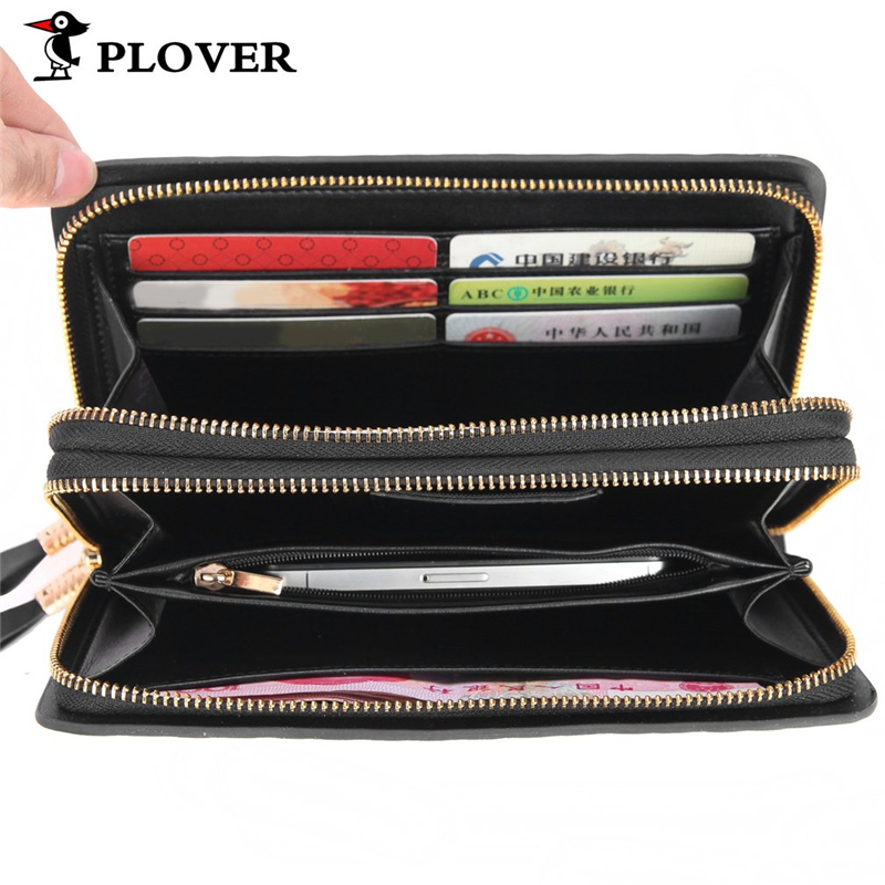 PLOVER Genuine Leather Men Wallets Men Handbag High Capacity Business Cow Leather Long Luxcry Purse Multi-card Cellphone Wallet