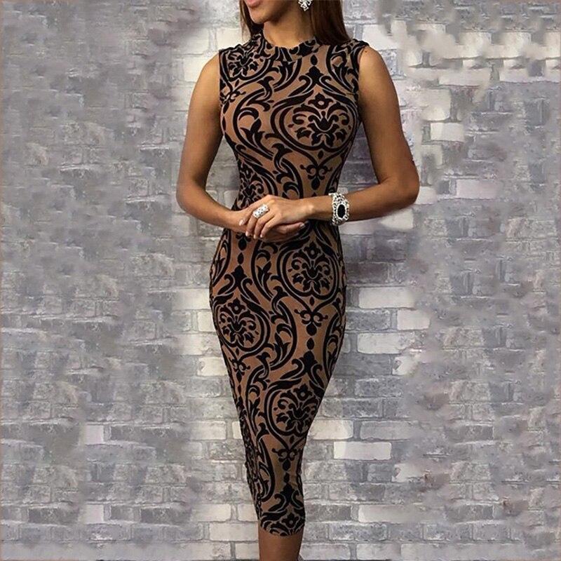 Elegant Vintage Casual Boydocn Slim Fit Party Dress Stylish Baroque Print Sleeveless Slinky Midi Dress