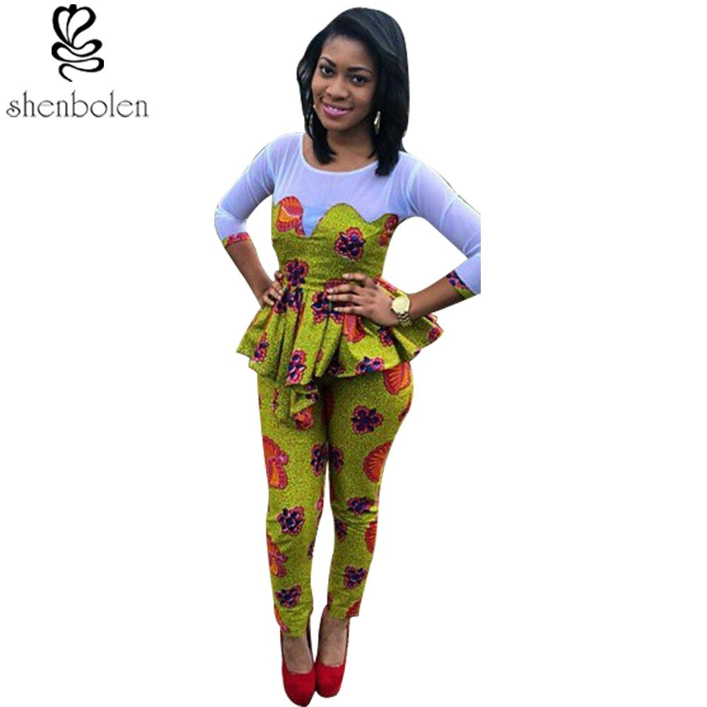 2018 Summer African Clothing For Women Ankara Knitting Stitching