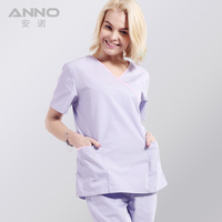 Anno Unisex Nursing Medical Doctor Nurse Uniform Short Slleeve With Comfortable And Breathbale For Free Shipping