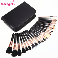 Mileegirl 29Pcs Pro Brand Makeup Brushes Set Goat Hair Cosmetic Foundation Brush Tools Black Leather Cosmetic