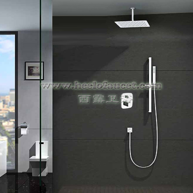 Wall mounted thermostatic brass ceiling rain shower mixer bathroom faucet copper concealed faucets with 400*250mm shower head