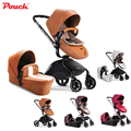 Pouch  Luxury Leather Newborn/Infant Baby Winter Stroller  With Bassinets Travel System And  High Landscape Stroller