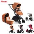 Pouch cuero de lujo recién nacido/sistema de viaje cochecito de bebé infantil de invierno con cunas y cochecito paisaje de alta