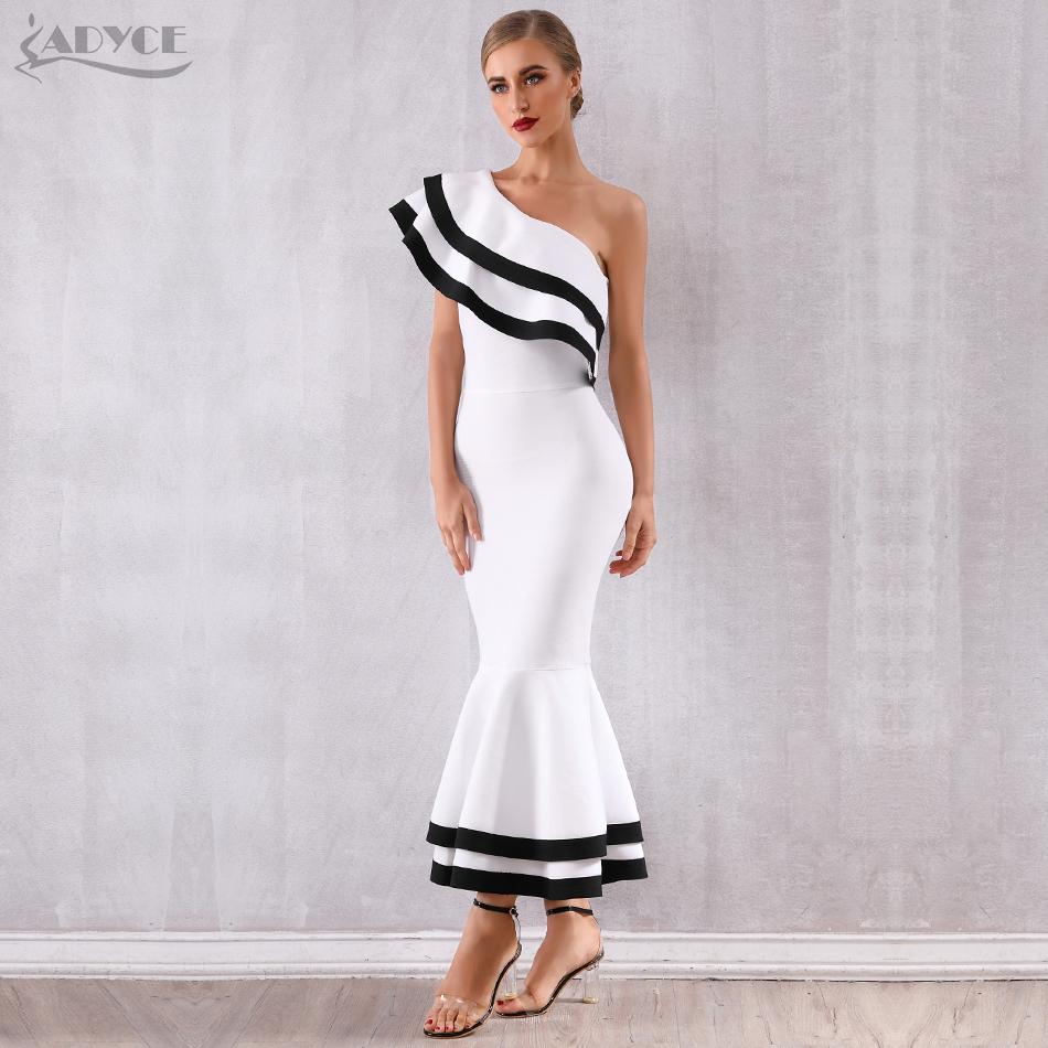 Adyce 2020 New Summer Women Bandage Dress Sexy Sleeveless One Shoulder Mermaid Club Dress Vestidos Celebrity Evening Party Dress