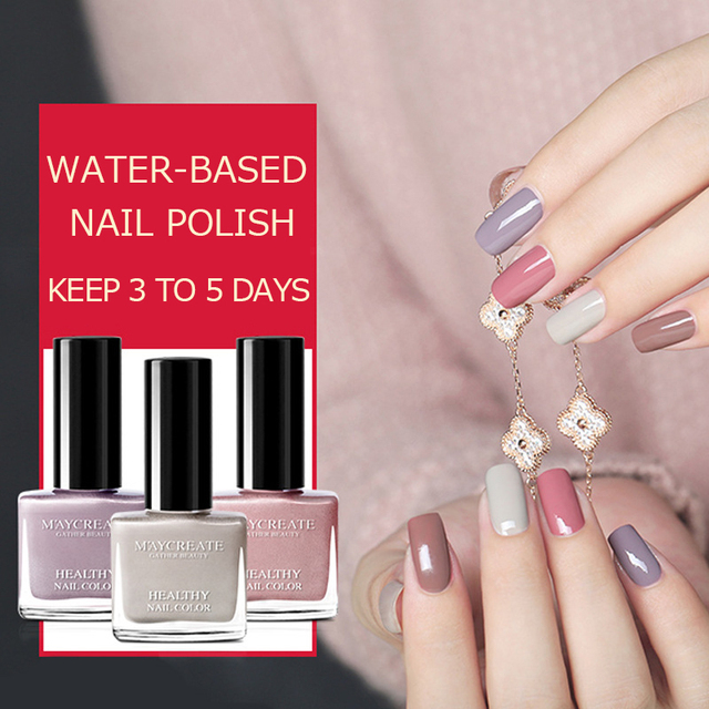 Maycreate Water Based Gel Nail Polish Fast Dry Pure Colors Red Pink Shiny