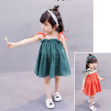 Hot Summer Wear Girls Clothes 2018 New Cotton Shoulderless Kids Dresses For Girls Children Summer Clothes Baby Girls Dress